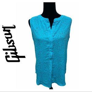 2/$20 🛍️ NWOT Gibson Turquoise Polka Dot Blouse